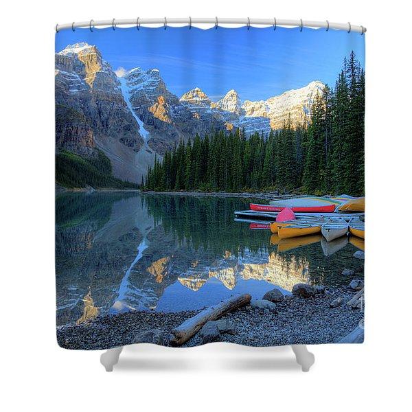 Moraine Lake Sunrise Blue Skies Canoes Shower Curtain