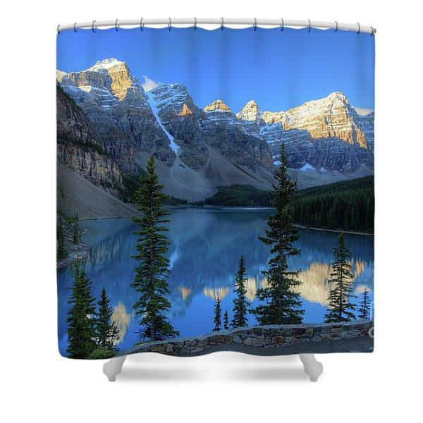 Moraine Lake Sunrise Blue Skies Shower Curtain