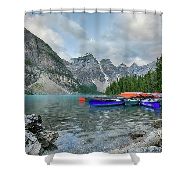 Moraine Logs And Canoes Shower Curtain