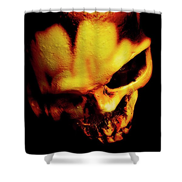 Morbid Decaying Skull Shower Curtain