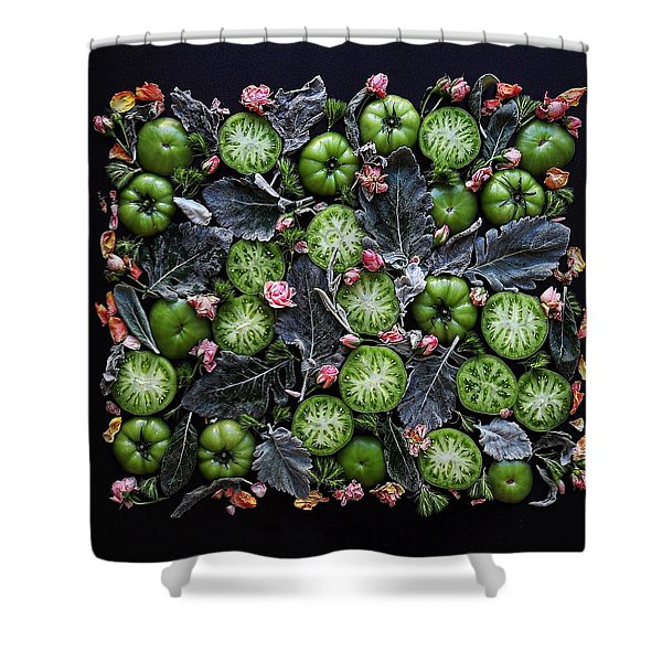 More Green Tomato Art Shower Curtain