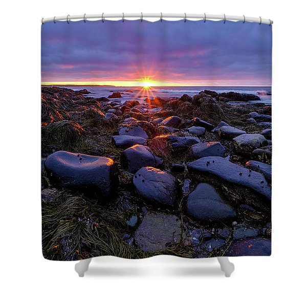 Shower Curtain featuring the photograph Morning Fire, Sunrise On The New Hampshire Seacoast  by Jeff Sinon