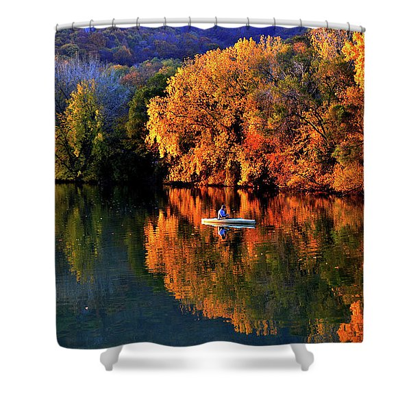 Morning Fishing On Lake Winona Shower Curtain