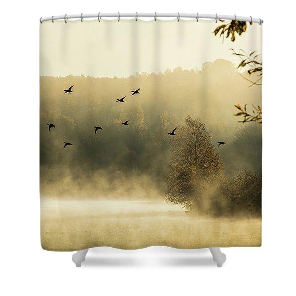 Morning Fog On Haley Pond In Rangeley Maine Shower Curtain