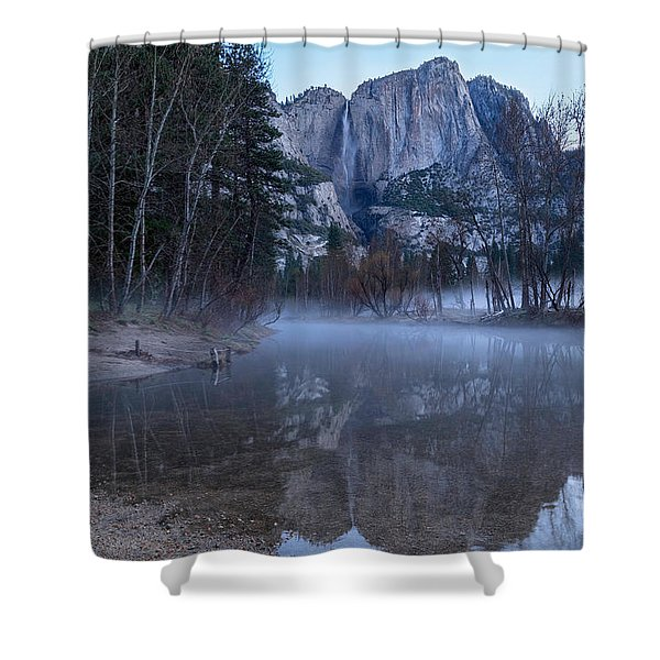 Morning Fog Yosemite Falls Shower Curtain