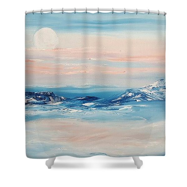 Morning Full Moon Shower Curtain