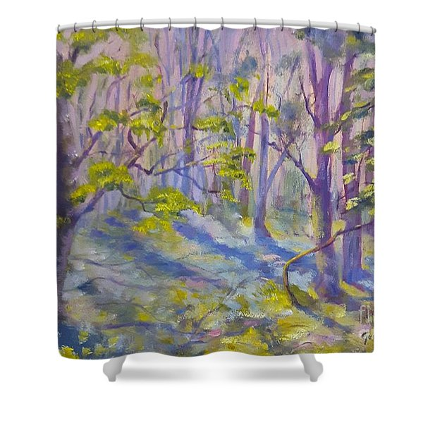 Shower Curtain featuring the painting Morning Glory by Genevieve Brown