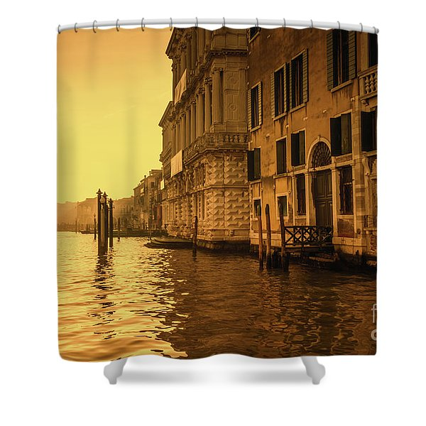 Morning In Venice Sepia Shower Curtain