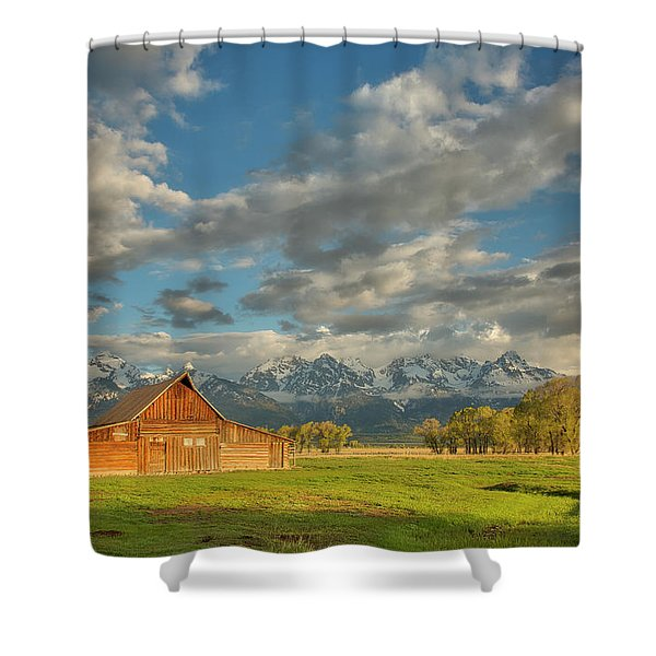 Morning Light On Moulton Barn Shower Curtain