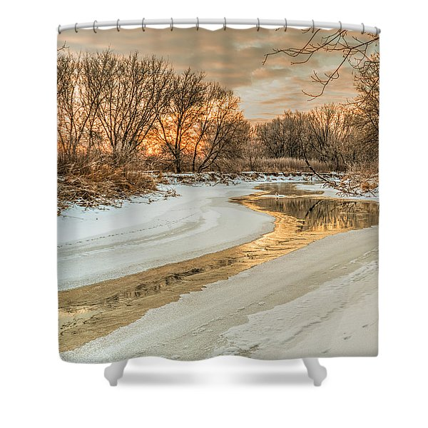 Morning Light On The Riverbank Shower Curtain