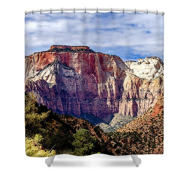 Morning Light On Zion's West Temple Shower Curtain