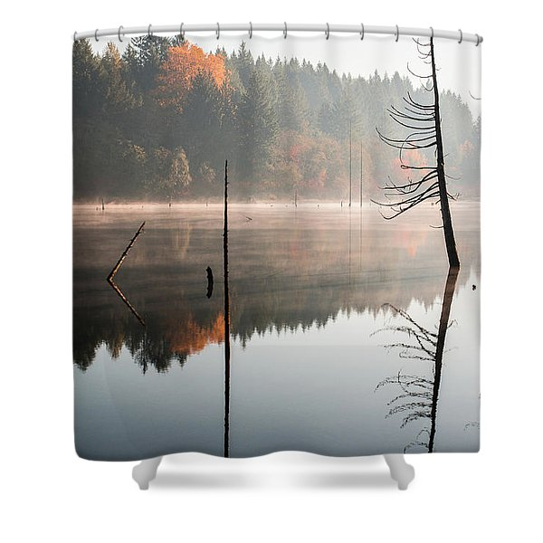 Morning Mist On A Quiet Lake Shower Curtain