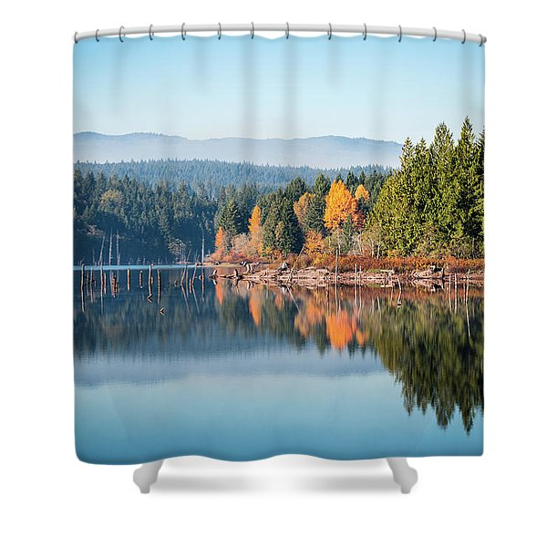 Morning Mist On Distant Mountains Shower Curtain