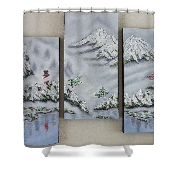 Morning Mist Triptych Shower Curtain