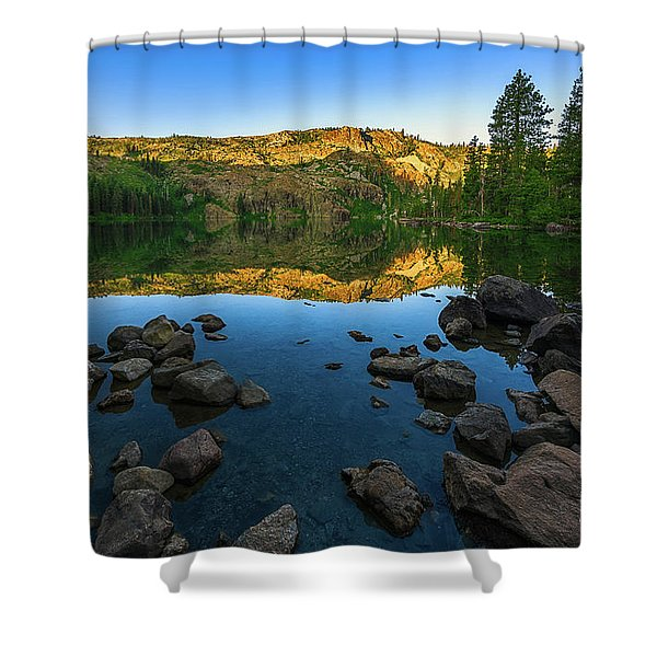 Morning Reflection On Castle Lake Shower Curtain