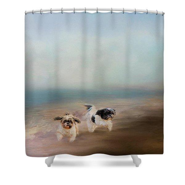 Morning Run At The Beach Shower Curtain