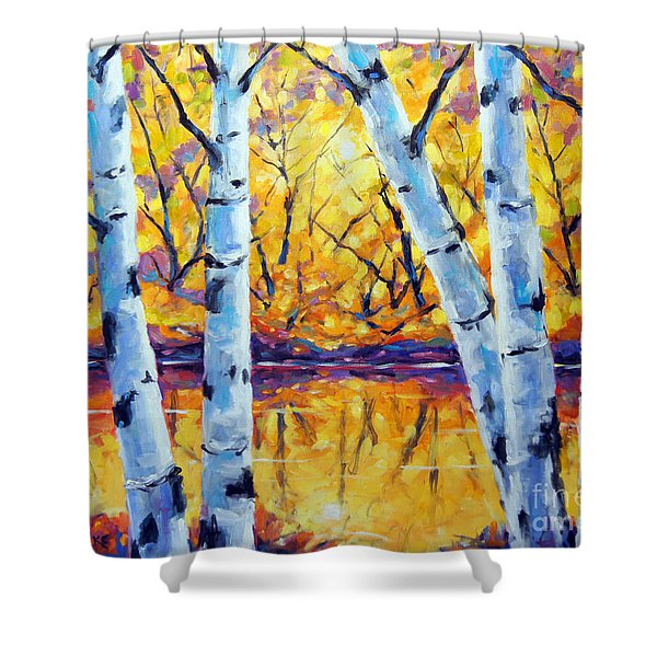 Morning Sparkle Birches By Prankearts Shower Curtain