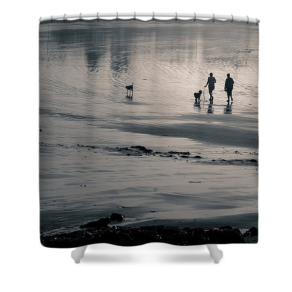 Morning Walk, Gooch's Beach, Kennebunk, Maine Shower Curtain