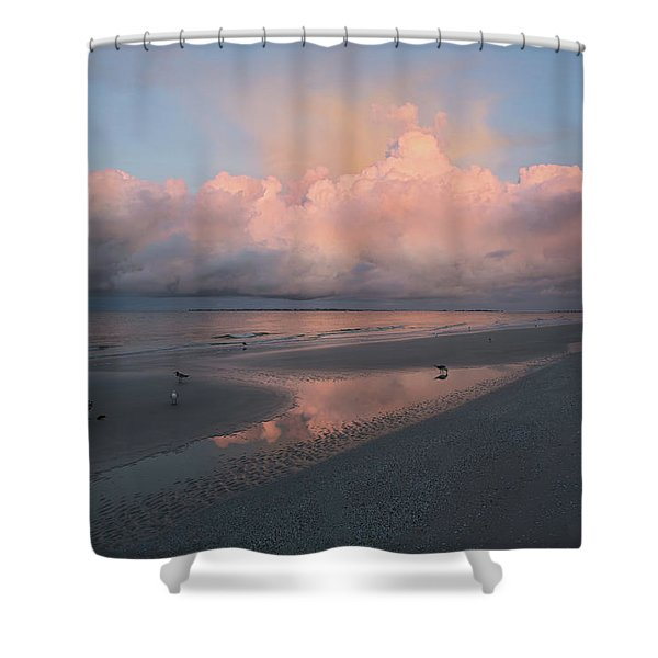Morning Walk On The Beach Shower Curtain