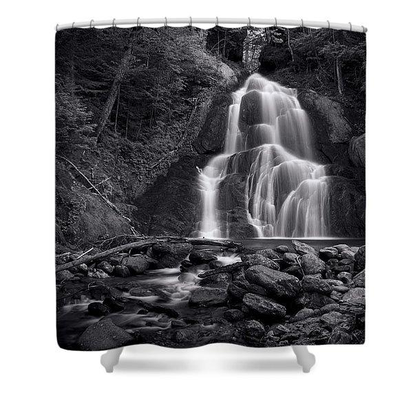 Moss Glen Falls - Monochrome Shower Curtain