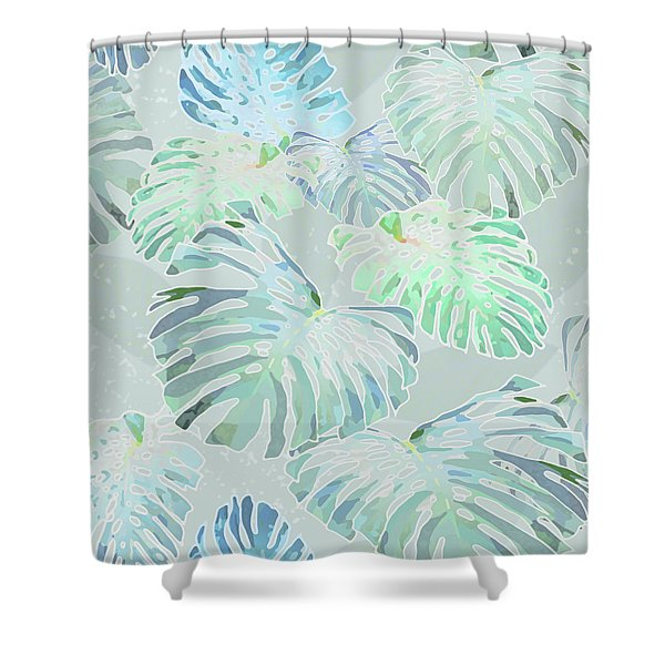 Mossy Faded Monstera Shower Curtain