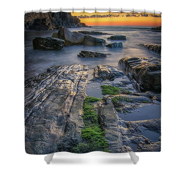 Mossy Rocks At Bald Head Cliff  Shower Curtain