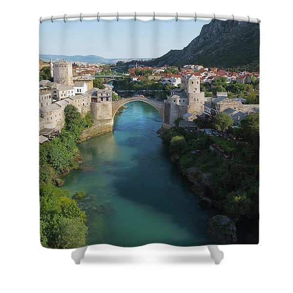 Mostar, Bosnia And Herzegovina.  Stari Most.  The Old Bridge. Shower Curtain