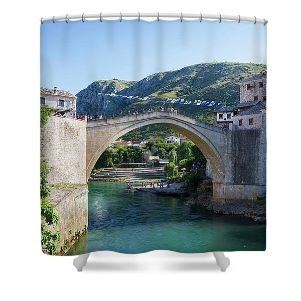Mostar, Bosnia And Herzegovina. The Old Bridge. Shower Curtain