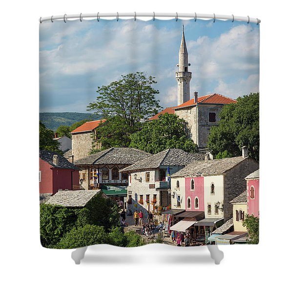 Mostar, Bosnia And Herzegovina.  The Old Town. Shower Curtain