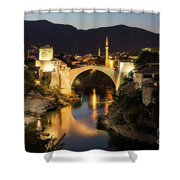 Mostar Skyline At Night Shower Curtain