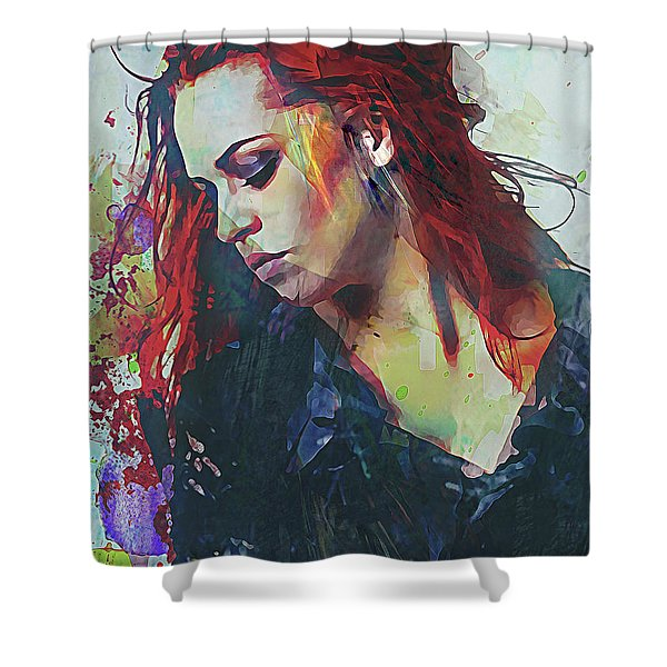 Mostly- Abstract Portrait Shower Curtain