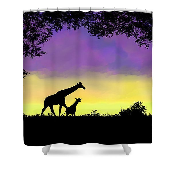 Mother And Baby Giraffe At Sunset Shower Curtain