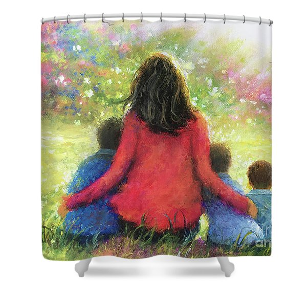 Mother And Three Sons In The Garden Shower Curtain