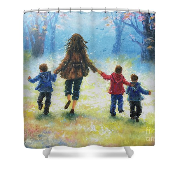 Mother And Three Sons  Shower Curtain