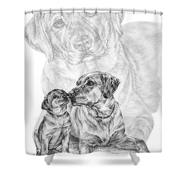 Mother Labrador Dog And Puppy Shower Curtain