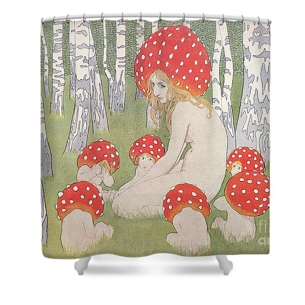 Mother Mushroom With Her Children Shower Curtain