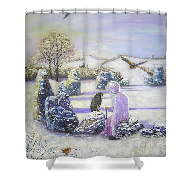 Mother Of Air Goddess Danu - Winter Solstice Shower Curtain