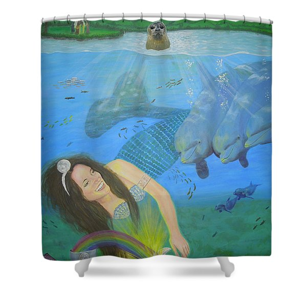 Mother Of Water Goddess Domnu - Summer Solstice Shower Curtain
