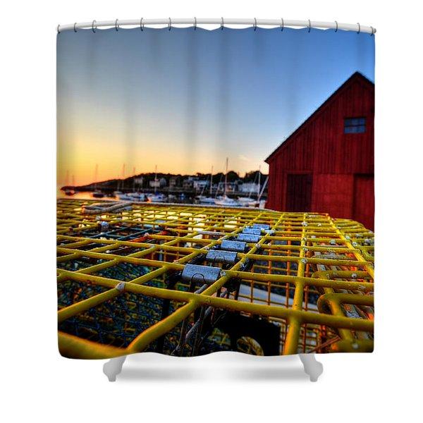 Motif 1 Lobster Trap Sunrise Shower Curtain