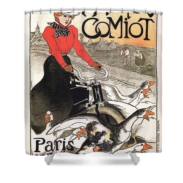 Motocycles Comiot - Paris - Vintage Advertising Poster Shower Curtain