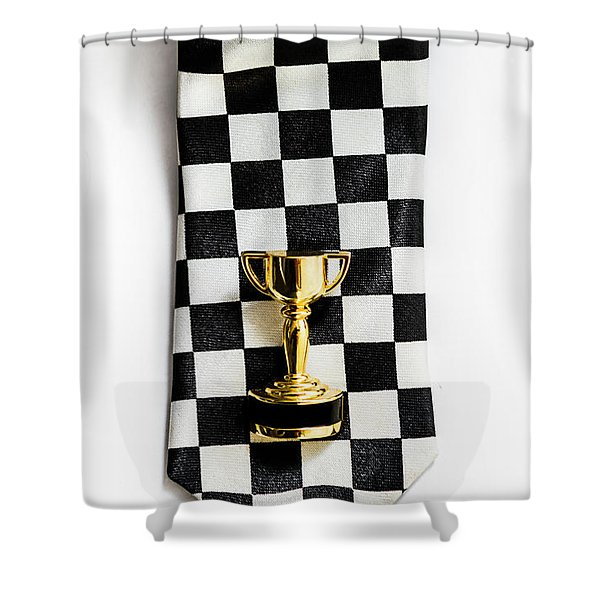 Motor Sport Racing Tie And Trophy Shower Curtain