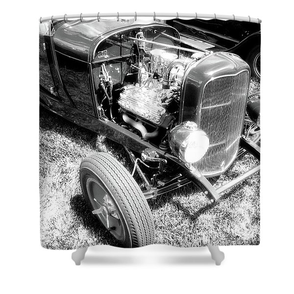 Motor Wheel Bw Shower Curtain