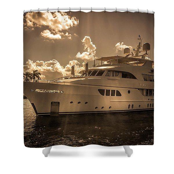 Sofia Motor Yacht Shower Curtain