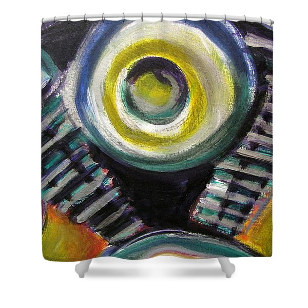 Shower Curtain featuring the painting Motorcycle Abstract Engine 2 by Anita Burgermeister