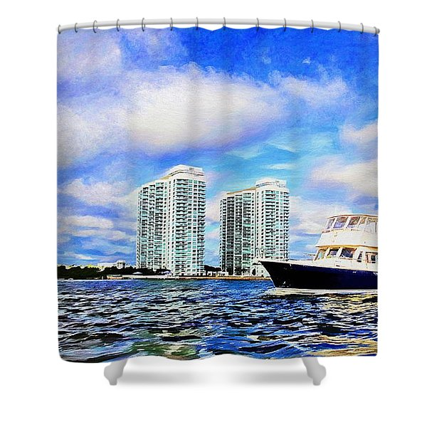 Motoring Past The Marina Grande Shower Curtain