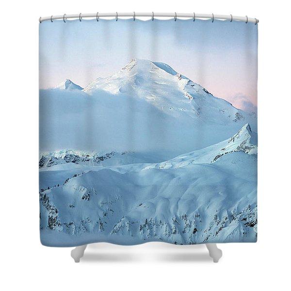 Mount Baker Fresh Snow Dawn Shower Curtain