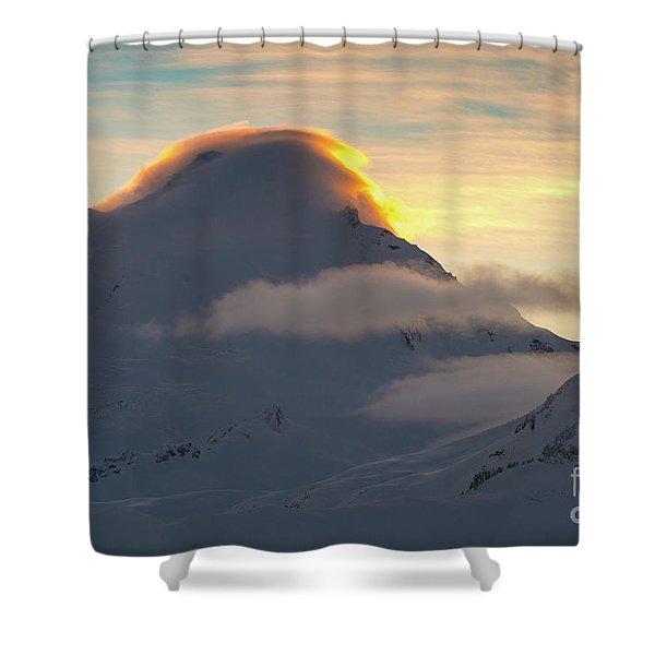 Mount Baker Sunset Lenticular Fire Shower Curtain