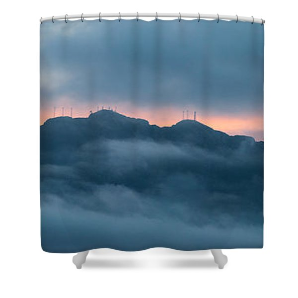 Mount Franklin Stormy Winter Sunset Pano Shower Curtain