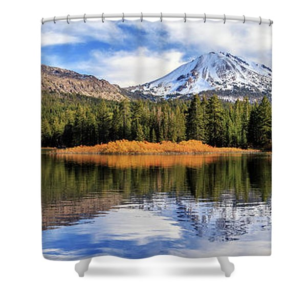 Mount Lassen Reflections Panorama Shower Curtain
