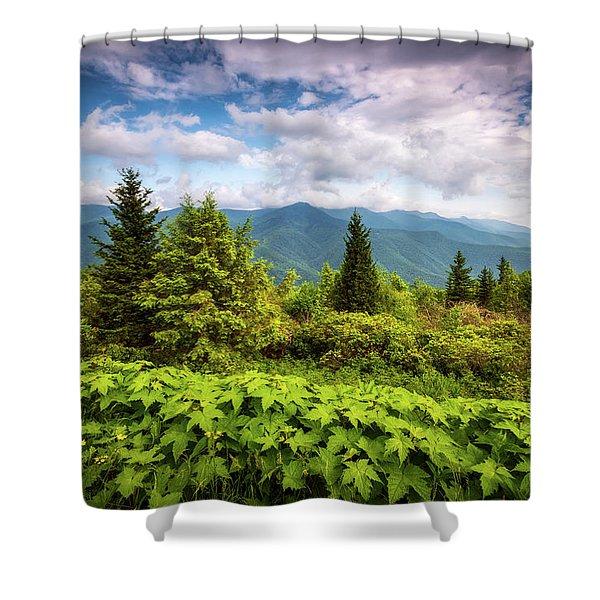 Mount Mitchell Asheville Nc Blue Ridge Parkway Mountains Landscape Shower Curtain
